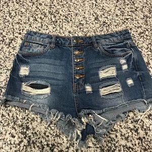FOREVER 21 Distressed Jean Shorts Medium